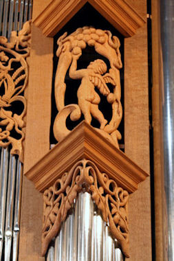 Wood carved angel, cherub sculpture, Fritts pipe organ, Episcopal Church of the Ascension, Seattle, WA