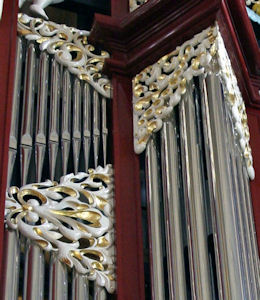 Wood carved ornamentation, pipe shade carvings for Fritts organ at St Joseph's Cathedral, Columbus, OH