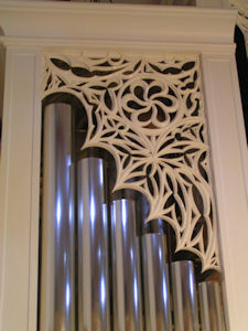 Gothic tracery pipe shade carving at top for St. Philip Presbyterian Church, Houston TX