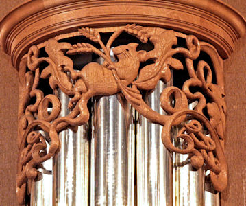 Wood carved rat in pipe shade carvings for Episcopal Church of the Ascension, Magnolia neighborhood, Seattle WA