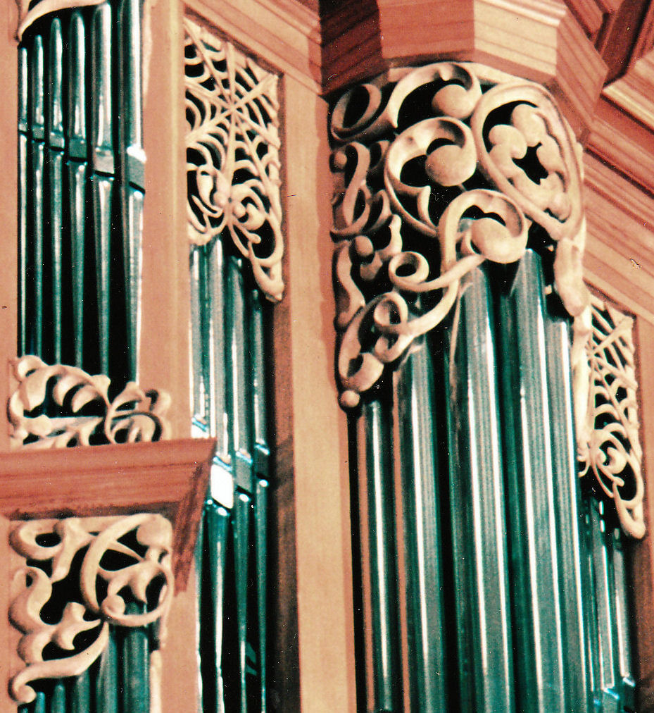 Woodcarvings for the organ at the Gottfried and Mary Fuchs Organ, Pacific Lutheran University, Tacoma Washington, wood carver Jude Fritts