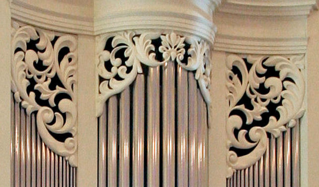 Decorative wood carving, pipe shade carvings, Princeton Theological Seminary, NJ
