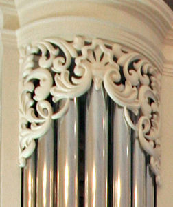 Decorative wood carving for pipe shades of the organ at Princeton Theological Seminary, NJ