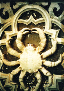 Woodcarving of crab for pipe shades at All Soul's Episcopal Church in San Diego