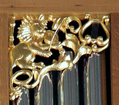 Wood carved lion, pipe organ screens, Marion Camp Oliver Organ at St. Mark's Cathedral in Seattle, WA