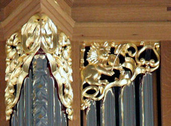 Wood carved Lion, Pipe shades, Marion Camp Oliver Organ at St. Mark's Cathedral in Seattle, WA