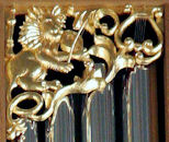 Wood carved lion, pipe shade carvings, Marion Camp Oliver Organ at St. Mark's Cathedral in Seattle
