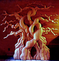 Carved wood tree sculpture