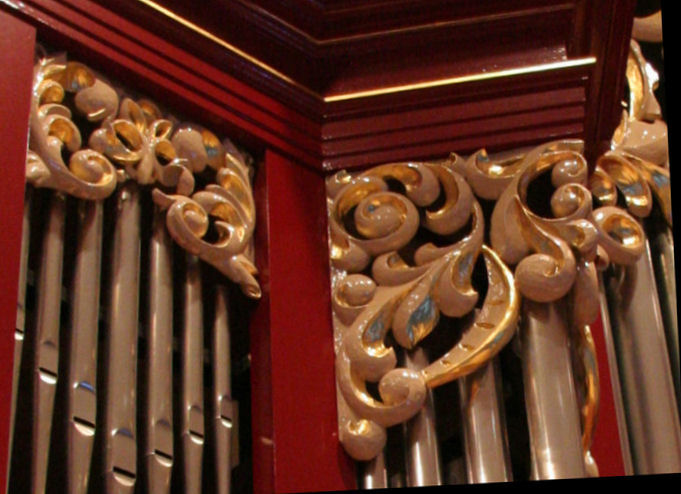 Carved wood ornament, Fritts pipe organ, Vassar College, Poughkeepsie, New York