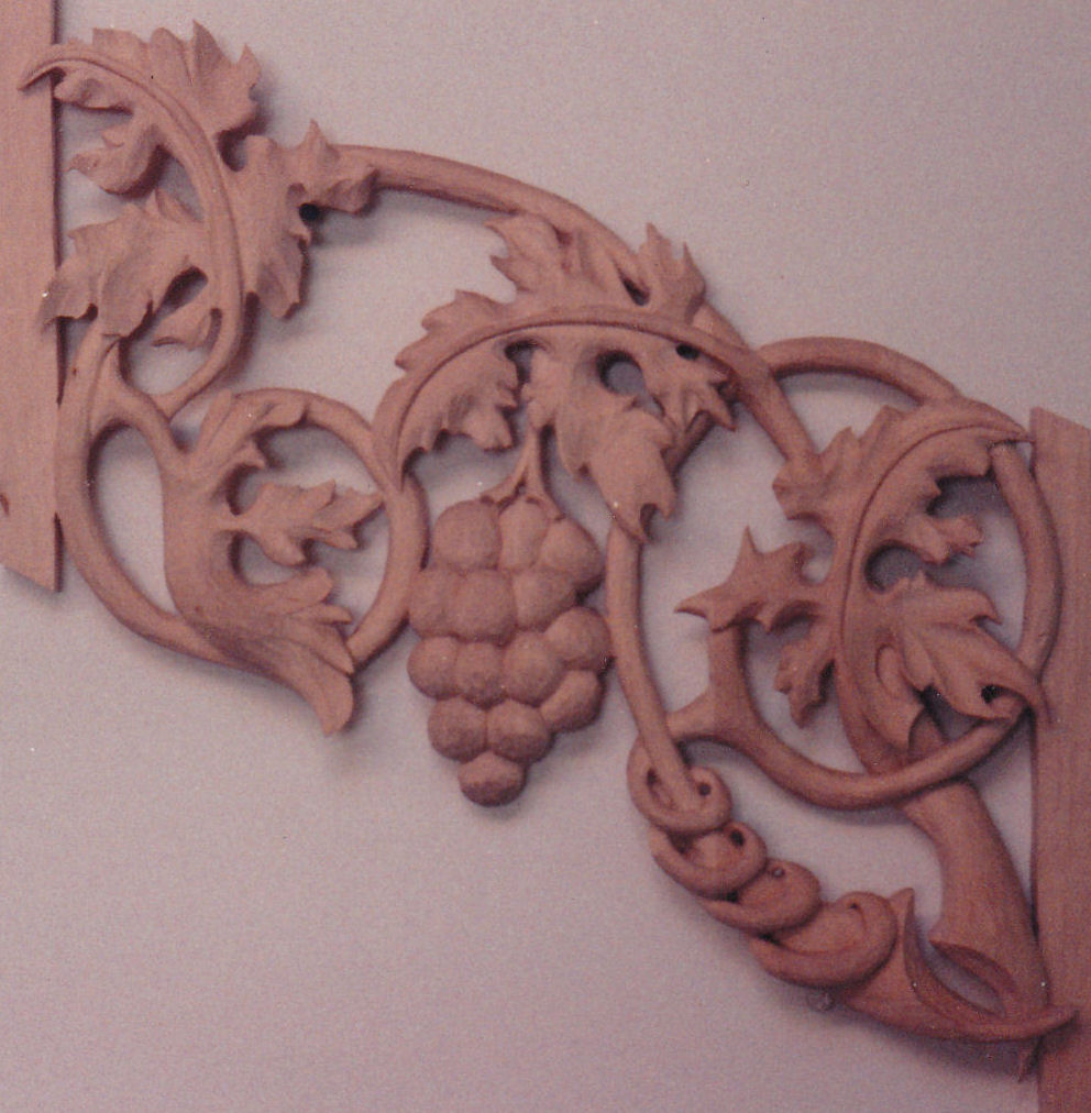 Carved grapes and leaves in pipe shades for the Schlicker pipe organ at Wisconsin Lutheran College, Wisconsin WI, Schlicker Organ Co.